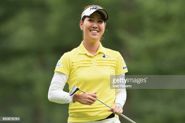 Mami Fukuda of Japan smiles after her putt on the 16th green during the second round of the NEC Karuizawa 72 Golf Tournament 2017 at the Karuizawa 72...