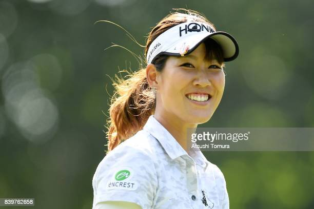 Mami Fukuda of Japan smiles during the final round of the Nitori Ladies 2017 at the Otaru Country Club on August 27 2017 in Otaru Hokkaido Japan