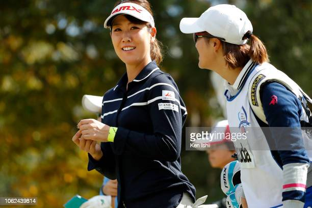 Mami Fukuda of Japan walks on the first hole during the first round of the TOTO Japan Classic at Seta Golf Course on November 02 2018 in Otsu Shiga...