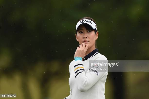 Mami Fukuda of Japan watches her tee shot on the 18th hole during the final round of the Fujitsu Ladies 2017 at the Tokyu Seven Hundred Club on...