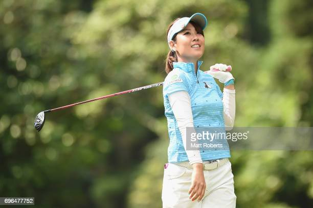 Mami Fukuda of Japan watches her tee shot on the 2nd hole during the first round of the Nichirei Ladies at the Sodegaura Country Club Shinsode Course...