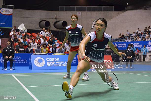 Mami Naito and Shizuka Matsuo of Japan compete in the women's doubles semi final match agaist Choi Hye In and Kim So Young of South Korea during day...