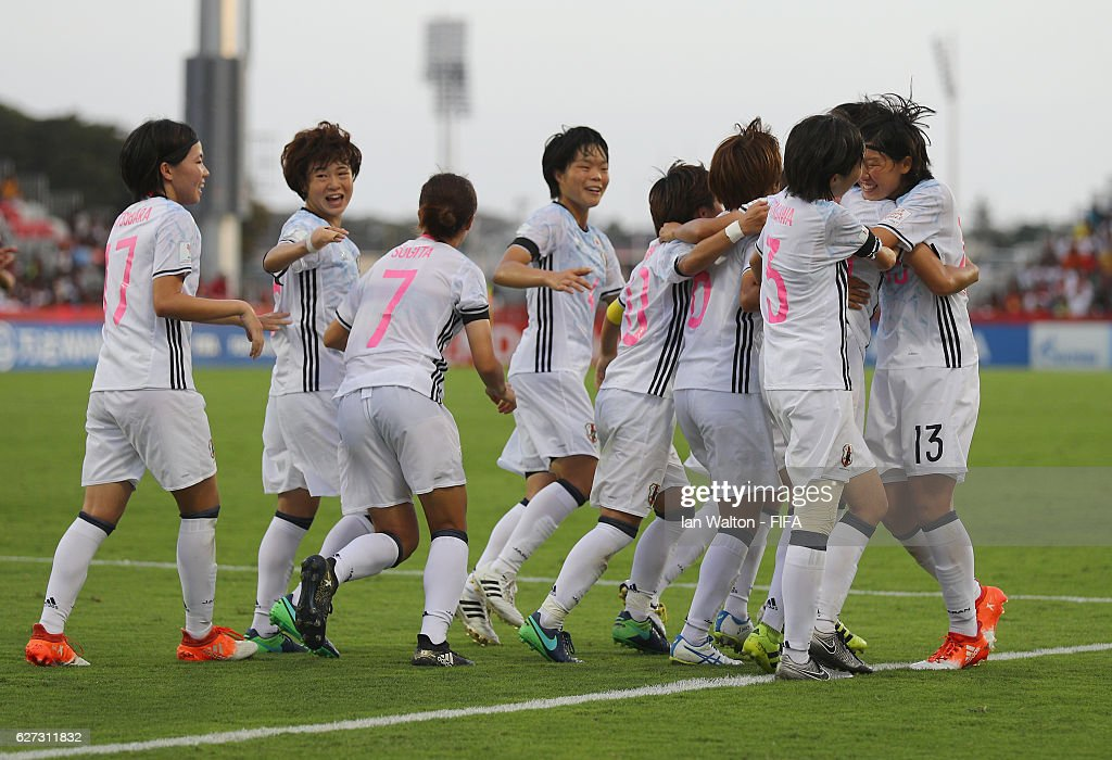 Mami Ueno of Japan celebrates scoring a goal during the FIFA U-20 Women's World Cup, Third Place Play Off match between USA and Japan at National Football Stadium on December 3, 2016 in Port Moresby, Papua New Guinea.