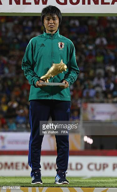 Mami Ueno of Japan pictured with the Adidas Golden Bott award during the FIFA U20 Women's World Cup Final match between Korea DPRand France at the...