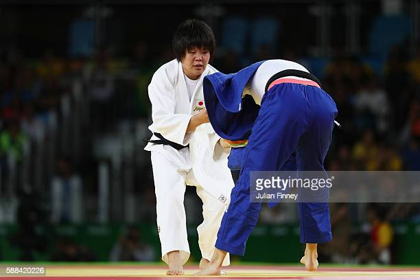 Mami Umeki of Japan competes against Abigel Joo of Hungary during the women's 78kg elimination round judo contest on Day 6 of the 2016 Rio Olympics...