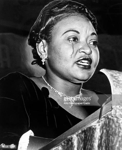 Mamie Bradley mother of lynched teenager Emmett Till cries as she recounts her son's death Washington DC October 22 1955