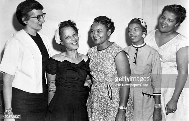 Mamie Bradley mother of lynched teenager Emmett Till meets white and African American members of the National Association for the Advancement of...