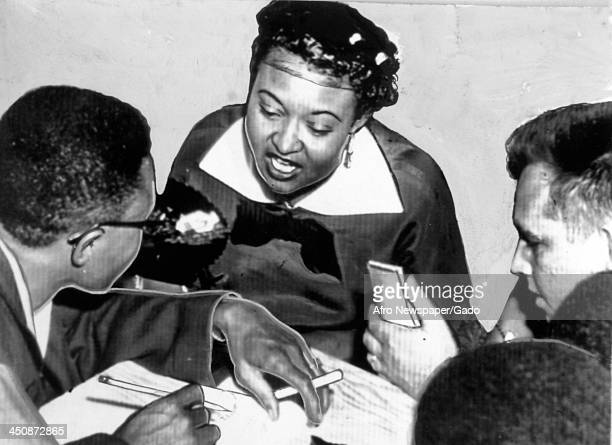 Mamie Bradley mother of lynched teenager Emmett Till speaks to reporters about her son's death September 24 1955