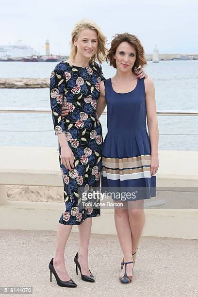 Mamie Gummer and Alix Poisson attend The Collection Photocall as part of MIPTV 2016 on April 4 2016 in Cannes France