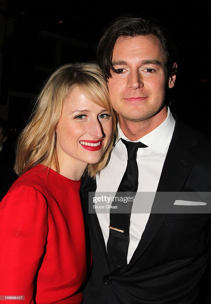 Mamie Gummer and husband Benjamin Walker pose at the after party on opening night of 'Cat On A Hot Tin Roof' on Broadway at Chelsea Piers Lighthouse Pier 60 on January 17, 2013 in New York City.