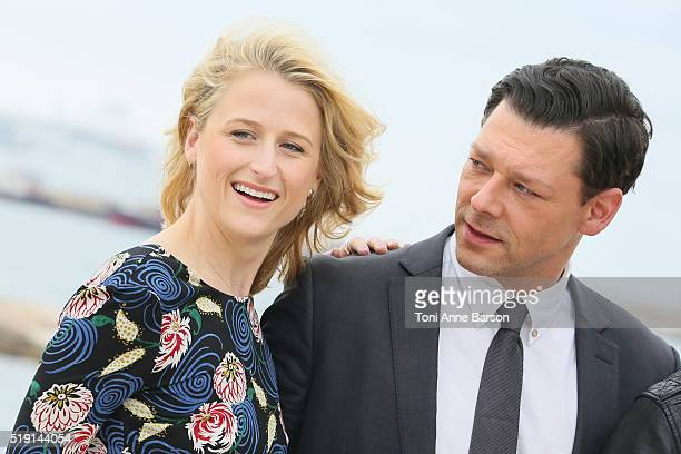 "Mamie Gummer and Richard Coyle attend ""The Collection"" Photocall as part of MIPTV 2016 on April 4, 2016 in Cannes, France."