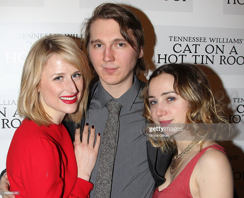 Mamie Gummer, Paul Dano and girlfriend Zoe Kazan pose at the after party on opening night of 'Cat On A Hot Tin Roof' on Broadway at Chelsea Piers Lighthouse Pier 60 on January 17, 2013 in New York City.