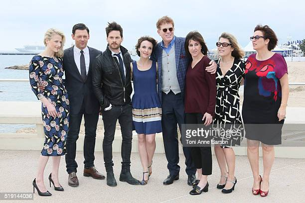 "Mamie Gummer, Richard Coyle, Tom Riley, Alix Poisson, Oliver Goldstick and guests attend ""The Collection"" Photocall as part of MIPTV 2016 on April 4,..."