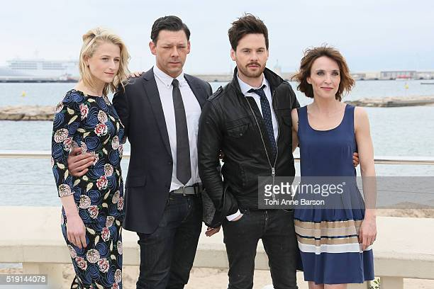 "Mamie Gummer, Richard Coyle, Tom Riley and Alix Poisson attend ""The Collection"" Photocall as part of MIPTV 2016 on April 4, 2016 in Cannes, France."