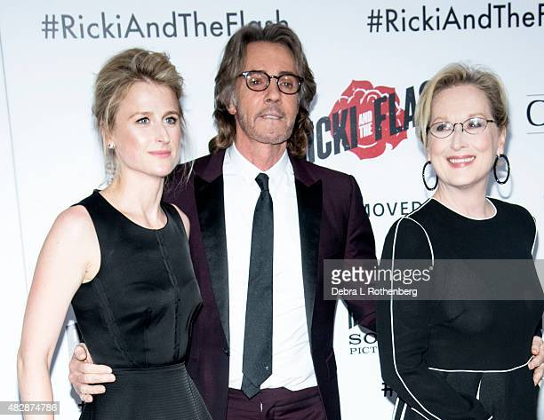 Mamie Gummer Rick Springfield and Meryl Streep arrive at the New York premiere of Ricki And The Flash at AMC Lincoln Square Theater on August 3 2015...