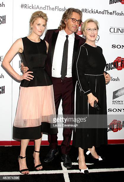 Mamie Gummer Rick Springfield and Meryl Streep attend Ricki And The Flash New York Premiere at AMC Lincoln Square Theater on August 3 2015 in New...