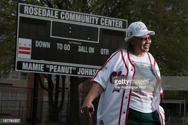 Mamie 'Peanut' Johnson the first woman player in the Negro baseball league who pitched for the Indianapolis Clowns poses at the new ball field named...