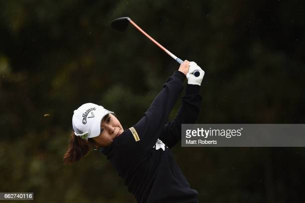Mamiko Higa hits her tee shot on the fifth hole during the third round of the YAMAHA Ladies Open Katsuragi at the Katsuragi Golf Club Yamana Course...