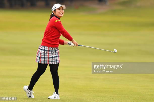Mamiko Higa of Japan hits her second shot on the 18th hole during the third round of the LPGA Tour Championship Ricoh Cup 2017 at the Miyazaki...