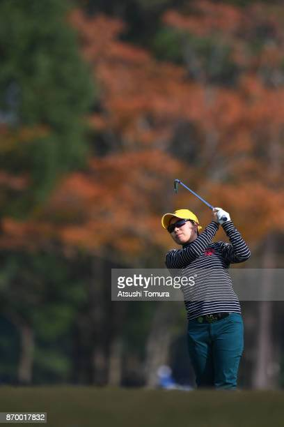 Mamiko Higa of Japan hits her second shot on the 1st hole during the second round of the TOTO Japan Classics 2017 at the Taiheiyo Club Minori Course...