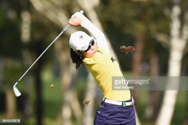 Mamiko Higa of Japan hits her second shot on the 2nd hole during the second round of the 50th LPGA Championship Konica Minolta Cup 2017 at the Appi...