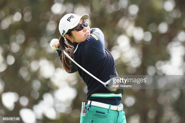 Mamiko Higa of Japan hits her tee shot on the 10th hole during the final round of the TPoint Ladies Golf Tournament at the Ibaraki Kokusai Golf Club...