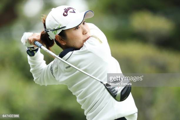 Mamiko Higa of Japan hits her tee shot on the 1st hall during the second round of the Daikin Orchid Ladies Golf Tournament at the Ryukyu Golf Club on...