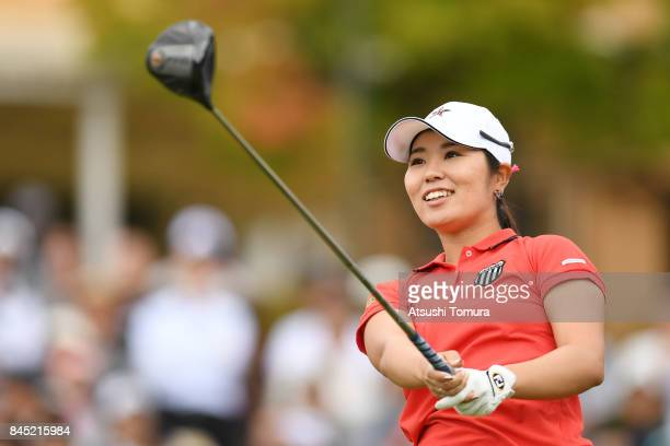 Mamiko Higa of Japan hits her tee shot on the 1st hole during the final round of the 50th LPGA Championship Konica Minolta Cup 2017 at the Appi Kogen...