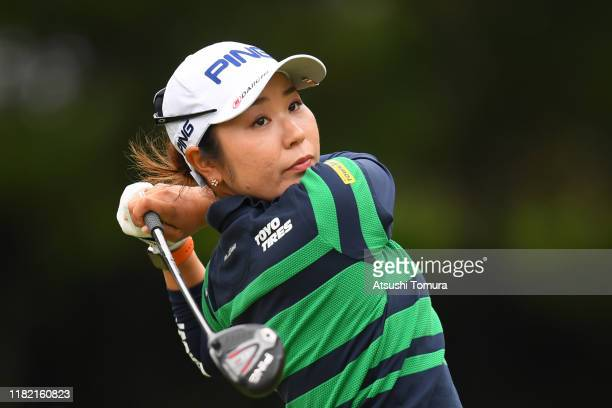 Mamiko Higa of Japan hits her tee shot on the 2nd hole during the final round of Fujitsu Ladies at Tokyu Seven Hundred Club on October 20 2019 in...
