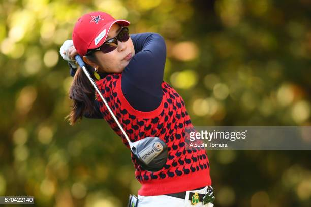 Mamiko Higa of Japan hits her tee shot on the 2nd hole during the final round of the TOTO Japan Classics 2017 at the Taiheiyo Club Minori Course on...