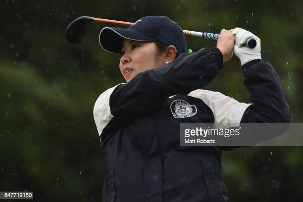 Mamiko Higa of Japan hits her tee shot on the 6th hole during the second round of the Munsingwear Ladies Tokai Classic 2017 at the Shin Minami Aichi...