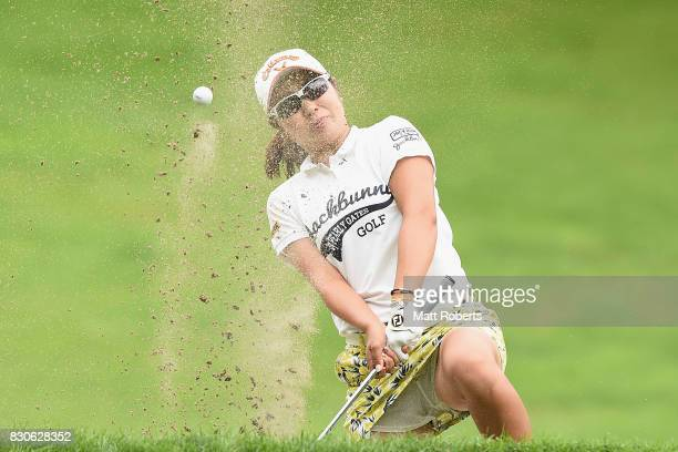 Mamiko Higa of Japan hits out of the 16th green bunker during the second round of the NEC Karuizawa 72 Golf Tournament 2017 at the Karuizawa 72 Golf...