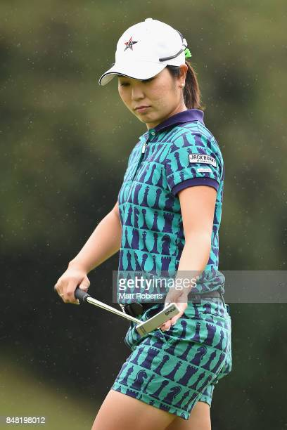 Mamiko Higa of Japan looks dejected after her putt on the first green during the final round of the Munsingwear Ladies Tokai Classic 2017 at the Shin...