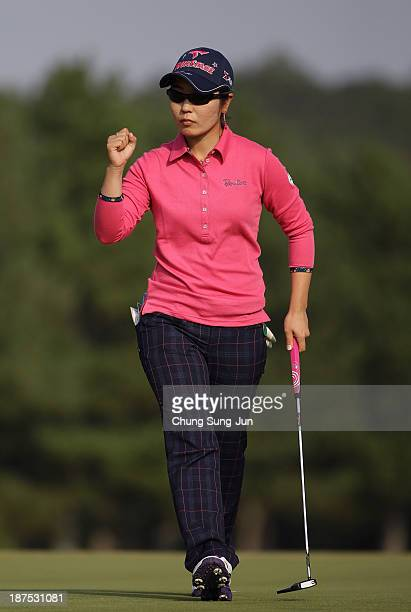 Mamiko Higa of Japan reacts after a shot on the 18th hole during the final round of the Mizuno Classic at Kintetsu Kashikojima Country Club on...