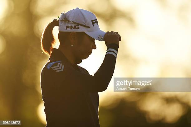 Mamiko Higa of Japan reacts on the 18th green during the third round of the Nitori Ladies 2016 at the Otaru Country Club on August 27 2016 in Otaru...