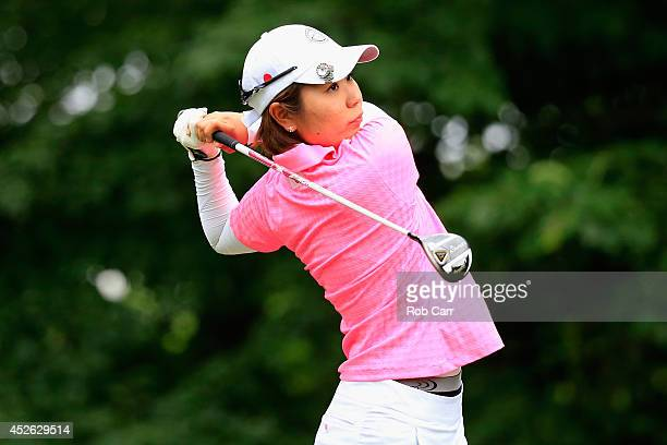 Mamiko Higa of Japan tees off during round one of the International Crown on July 24 2014 in Owings Mills Maryland