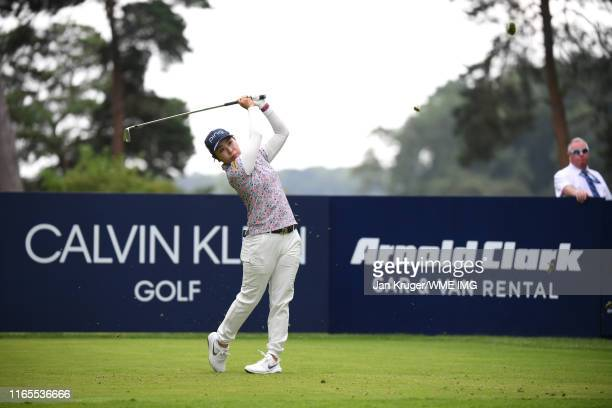 Mamiko Higa of Japan tees off on the 8th hole during Day One of the AIG Women's British Open at Woburn Golf Club on August 01 2019 in Woburn England