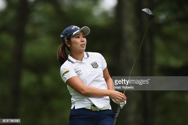 Mamiko Higa of Japan watches her tee shot on the 2nd hole during the first round of the NEC Karuizawa 72 Golf Tournament 2017 at the Karuizawa 72...