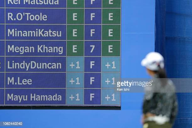 Mamiko Higa of Japan watches leaders board on the 18th green during the first round of the TOTO Japan Classic at Seta Golf Course on November 02 2018...