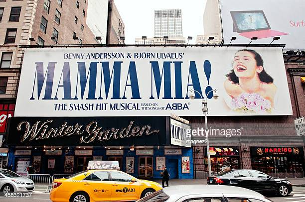 mamma mia on broadway, new york city - broadway manhattan stock photos and pictures
