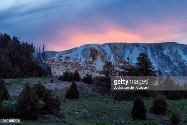 mammoth hot springs at sunset, yellowstone national park, wisconsin, united states, north america - iowa_county,_wisconsin stock pictures, royalty-free photos & images