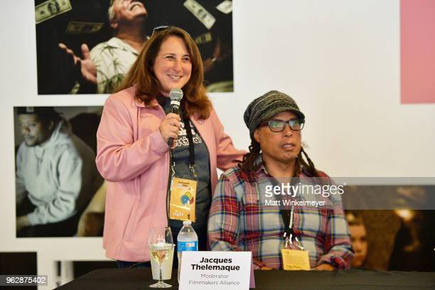 Mammoth Lakes Film Festival Director Shira Dubrovner and Jacques Thelemaque speak onstage during the 2018 Mammoth Lakes Film Festival on May 26 2018...