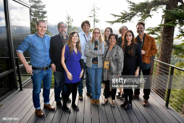Mammoth Lakes Film Festival Director Shira Dubrovner and Melissa Leo pose for a photo with the Mammoth Lakes Film Festival Jurors during the 2018...