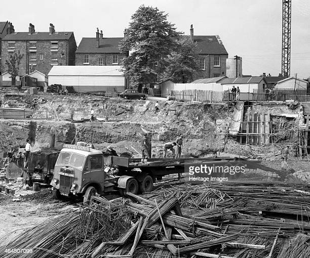AEC Mammoth Major on the building site for Sheffield University South Yorkshire 1960 An AEC Mammoth Major lorry delivering reinforcement bars on the...