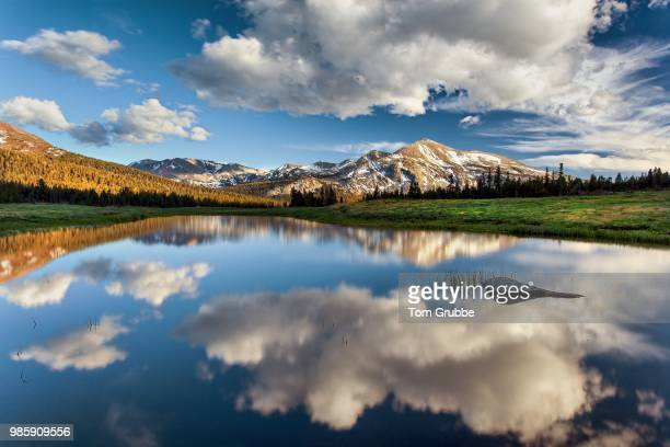 mammoth peak reflection - tom grubbe stock pictures, royalty-free photos & images