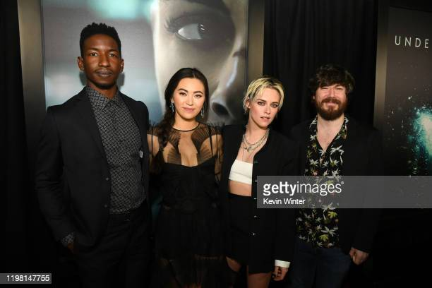 Mamoudou Athie Jessica Henwick Kristen Stewart and John Gallagher Jr attend a special fan screening of 20th Century Fox's Underwater at Alamo...