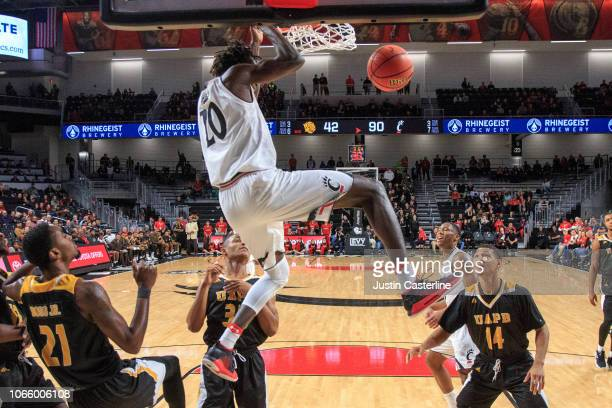 Mamoudou Diarra of the Cincinnati Bearcats dunks the ball in the game against the ArkansasPine Bluff Golden Lions in the second half at Fifth Third...