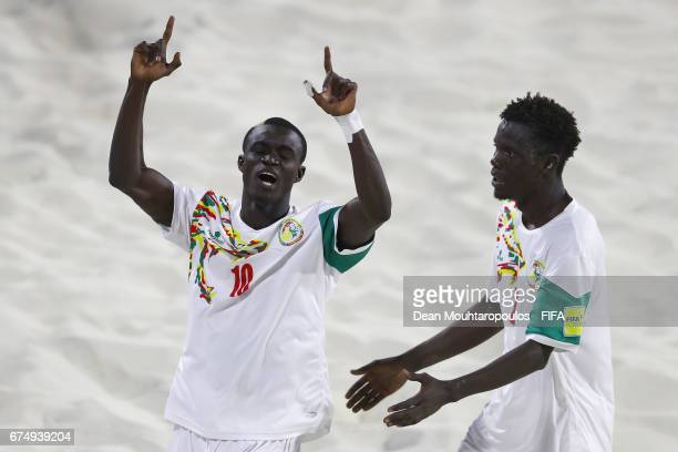 Mamour Diagne of Senegal celebrates scoring a goal during the FIFA Beach Soccer World Cup Bahamas 2017 group A match between Senegal and Bahamas at...