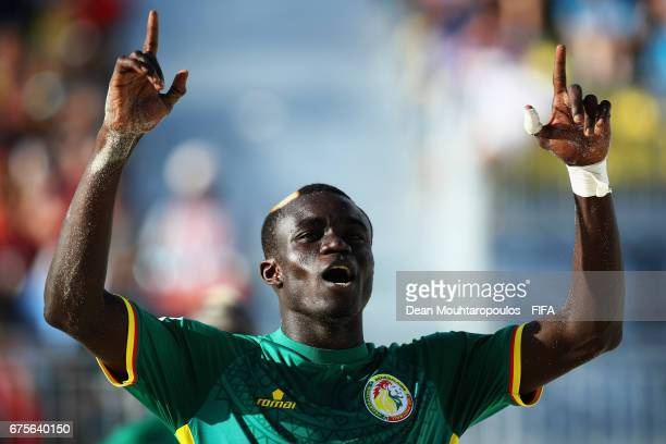 Mamour Diagne of Senegal celebrates scoring a goal during the FIFA Beach Soccer World Cup Bahamas 2017 group A match between Switzerland and Senegal...