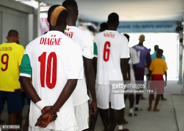 Mamour Diagne of Senegal gets ready to walk out the players tunnel with team mates prior to the FIFA Beach Soccer World Cup Bahamas 2017 group A...